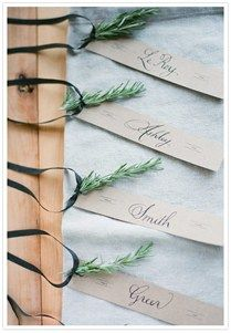 herb escort cards for a winter wedding