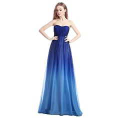 a20eb87abf28 Aurora Bridal® Womens 2016 Royal Blue Ombre Chiffon Pleated Long Bridesmaid  Dress at Amazon Women s Clothing store