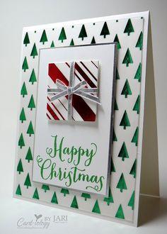 Card-ilogy by Jari: Stampin' Up! Oh, What Fun Christmas Card - Versatile Christmas - Holidays Fancy Foil Designer Vellum - Silver Foil Sheets - Squares Collection Framelits - Envelope Liner Framelits