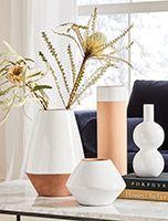pillows + decor Mid Century Bathroom, Oversized Furniture, White Vases, Blue Vases, Black Vase, Custom Rugs, Art Design, Interior Design, Design Ideas