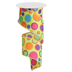 """Yellow with Dots Size: 2.5"""" x 10 yards Color: Yellow with blue, orange, pink, purple green dots Wire edge ribbon  #trendytree #dots"""