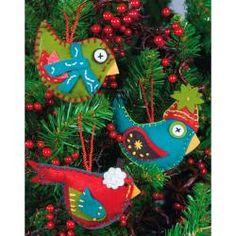 Whimsical Birds Ornaments Felt Applique Kit-2-3/4