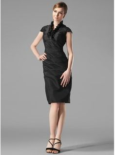 Sheath/Column V-neck Knee-Length Taffeta Holiday Dress With Ruffle (020003292) - JJsHouse