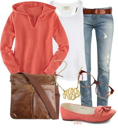 """Comfy coral"" by coombsie24 ❤ liked on Polyvore"