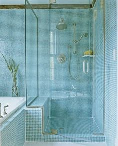 Blue mosaic tile bathroom. #MosaicMonday #TileSensations