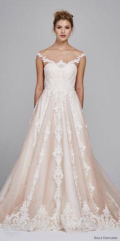 kelly faetanini bridal fall 2017 illusion off shoulder sweetheart blush alencon lace ball gown wedding dress (suri) zfv