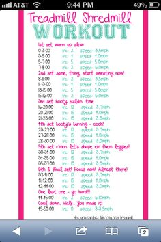 Treadmill workout - There is no way I could do this but it's nice to think I could try....but I won't :)