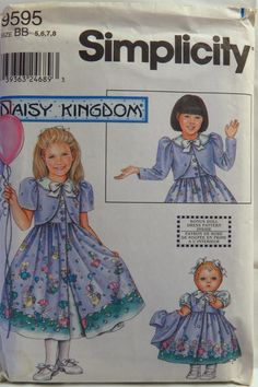 "Simplicity 9595 Child's Dress, Pinafore and Jacket and Doll for 18"" Doll"