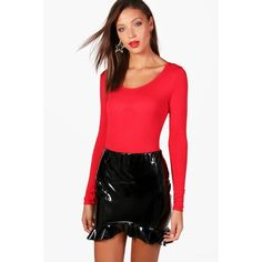 Boohoo Tall Jennie Long Sleeve Basic Bodysuit ($9) ❤ liked on Polyvore featuring tops, red long sleeve bodysuit, ribbed crop top, long-sleeve crop tops, long-sleeve bodysuits and high neckline crop top