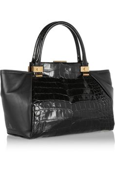 Lanvin | Trilogy croc-effect leather shopper | NET-A-PORTER.COM