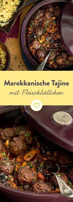 Moroccan tagine with meatballs # Turkish recipes Pork Chop Recipes, Meat Recipes, Healthy Recipes, Lunch Recipes, Fall Recipes, Oriental Food, Albondigas, Arabic Food, Turkish Recipes