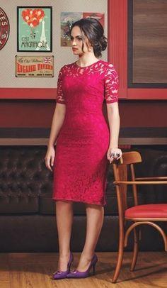 vestido tubinho vermelho com renda - Pesquisa Google