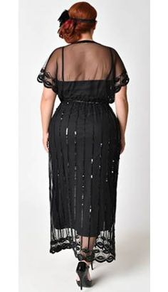 Plus Size 1920s Black Beaded Deco Angelina Maxi Flapper Dress