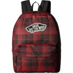 Vans Realm Backpack (Red Dahlia) Backpack Bags ($31) ❤ liked on Polyvore featuring bags, backpacks, red, day pack backpack, daypack bag, vans bags, handle bag and red bag