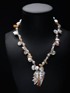 Chinese Fresh Water Pearl Necklace with Morganite, Keshi Pearls, and Sapphires in 14Kt yellow Gold