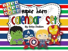 Super Hero Themed Classroom Calendar Set Bright Primary Stripes from Erica Dodson on TeachersNotebook.com -  (17 pages)  - Super Hero Themed Classroom Calendar Set with red, yellow, green, and blue stripes.