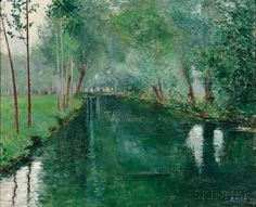 """The River Epte, Giverny,"" John Leslie Breck, c. 1887, Oil on canvas, 18 1/8 x 22"", Private collection."