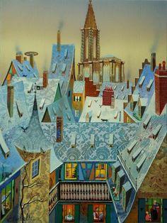 Alsace, Perspective Art, Art Original, Lorraine, Oeuvre D'art, Illustrations Posters, Arts, Artwork, Felt