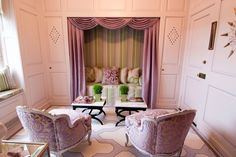 Traditional Living Room with interior wallpaper, Light pink and green stripe wallpaper, Camber Pink Stripes Throw Pillow