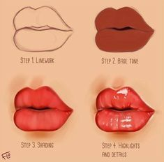 with What's your favorite color of lipgloss or lipstick? Here's a little step by step on how to paint lips with lipgloss on them. Made in Photoshop using a Wacom Intuos drawing tablet . 3d Drawing Tutorial, Lip Tutorial, Drawing Tutorials, Drawing Skills, Drawing Lessons, Drawing Tips, Digital Painting Tutorials, Digital Art Tutorial, Lipgloss
