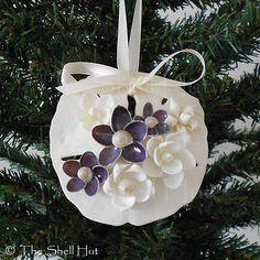 Seashell Christmas Ornament Sand Dollar White & Purple Flowers Shabby Shells