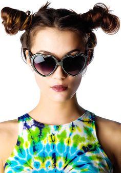 MARIALIA Swarovski® Heart Sunglasses in Silver | Dolls Kill