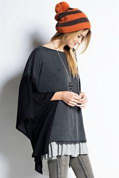 Color Block Kimono Pullover
