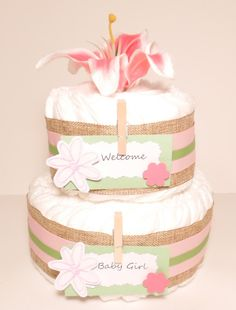 Baby Girl Diaper Cake by RikasSpecialGifts on Etsy