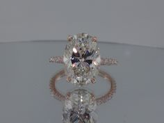 Josh Levkoff - Collection, Rings - Rose Gold Oval Custom Engagement Ring with MicroPave Diamonds | Josh Levkoff