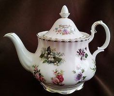 Royal Albert Flowers of the Month Series Tea Pot, Pink, Green, White, Floral