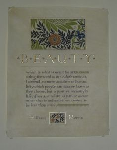 Georgia Angelopoulos. An older work on parchment, but I love this text from William Morris. Gouache, raised and shell gold on parchment.