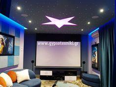 οροφή με κρυφό φωτισμό  και σχέδιο αστέρι. Flat Screen, Blood Plasma, Flatscreen, Dish Display