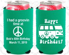 60th Birthday, 60th Neoprene Birthday, Groovy Birthday, Retro Birthday, Hippie Birthday, Neoprene Birthday Can Coolers (20296)