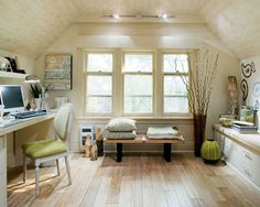 Awesome 37 Stylish Attic Home Office Design Ideas : Beige Attic Home Office Design Inspirations