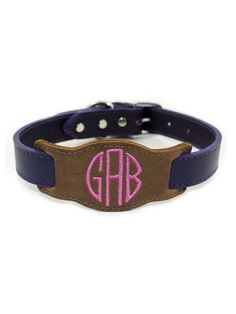 Ally Jay the Barclay 3 Letter Monogram Leather Slide and Dog Collar.