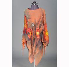 Pinkish salmon chiffon dress hand painted batik. Chiffon top, blouse, summer dress, tunic dress. Woman tunic plus size clothing, Womens XL. $159.00, via Etsy.
