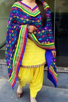 Yellow Cotton Punjabi Suit