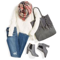 Love the plaid scarf, light colored sweater and gray accents. Heel on the boots a little high for me.