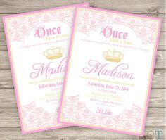 Princess Invitations Printable Pink Gold Birthday Invitations Baby Shower Available Crown Once Upon a Time Princess theme package party on Etsy, $15.00