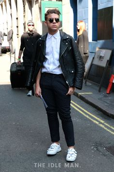 Men's street style, a biker jacket is a style essential, wear it with formal trousers and a white shirt | The Idle Man