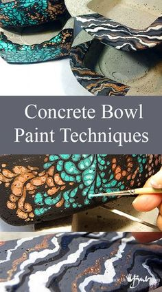 Concrete Bowl Paint Techniques – Made By Barb easy ways to finish your concrete, no special skills needed Concrete Bowls Paint Techniques Madebybarb Feature Concrete Leaves, Concrete Sculpture, Concrete Molds, Concrete Cement, Concrete Crafts, Concrete Projects, Concrete Design, Outdoor Projects, Concrete Garden