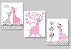 Gris et rose Nursery, girafe Art Print, ballons, oiseaux, Jungle Animal pépinière, gris et rose, mignon pépinière, 8 x 10, 11 x 14, enfants    Veuillez prendre note de couleurs peuvent varier légèrement entre les moniteurs dordinateur.    Impressions sont des reproductions de mes oeuvres dart originales et non les originaux eux-mêmes. Ils sont imprimés sur papier lustre ou la toile de votre choix. Toiles sont. 75 de profondeur. Choisissez du papier ou toile imprime en utilisant le menu…