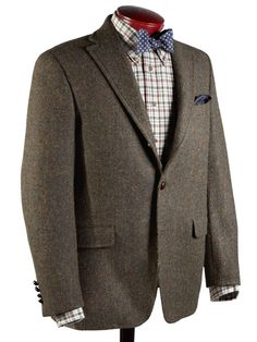 J Press Presstige Harris Tweed Mixed Olive Herringbone sport coat, made in Canada