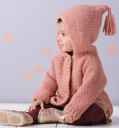 yarn for baby: knitted jacket- paletot à capuche Layette - Modèles Layette - Phildar