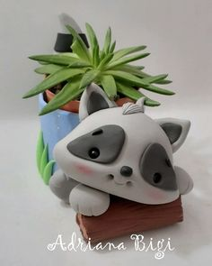 Polymer Clay Projects, Clay Crafts, Diy And Crafts, Arts And Crafts, Resin Planters, Clay Animals, Pasta Flexible, My Secret Garden, Cold Porcelain
