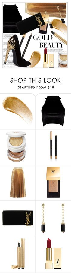 """gold beauty /ysl"" by hajarlamine ❤ liked on Polyvore featuring BBrowBar, Boohoo, Tom Ford, Yves Saint Laurent, Christopher Kane and David Yurman"