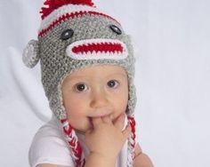 Sock Monkey Crochet Hat by DizzyStitchCrochet on Etsy, $26.00