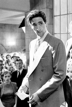 Adrien Brody on the set of The Pianist