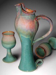 Dunnmorr Pottery - decanter & goblets rainbow glaze