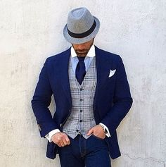 Love this suit? Let us make this style just for you. Dapper Gentleman, Dapper Men, Gentleman Style, Sharp Dressed Man, Well Dressed Men, Casual Outfits, Fashion Outfits, Fashion Hats, Looks Style